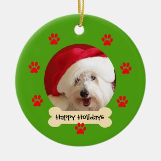 Happy Holidays with Dog Christmas Ornament