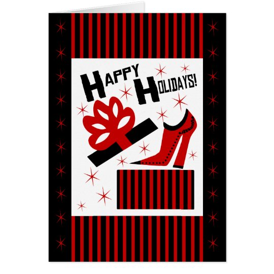 Happy Holidays! With Funky Shoe Boot And Gift Box Card