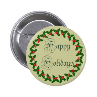 Happy Holidays With Holly Wreath Pin