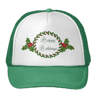 Happy Holidays With Holly Wreath Cap