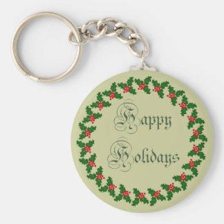 Happy Holidays With Holly Wreath Keychain