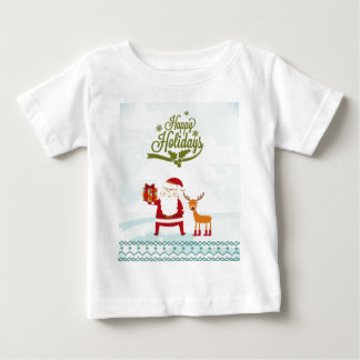 Happy Holidays with Santa Claus and Rudolf Baby T-Shirt