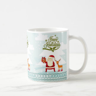Happy Holidays with Santa Claus and Rudolf Coffee Mug