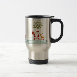 Happy Holidays with Santa Claus and Rudolf Travel Mug
