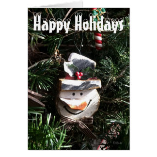 Happy Holidays Wooden Snowman Face Card
