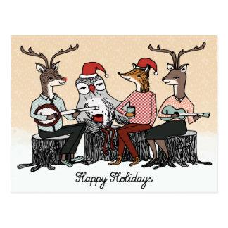 Happy Holidays Woodland Animals Stump Music Card Postcard