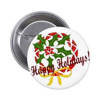Happy Holidays wreath 6 Cm Round Badge