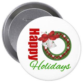 Happy Holidays Wreath Pinback Button