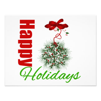 Happy Holidays Wreath Bow Personalized Announcement