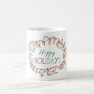 Happy Holidays Wreath Mug