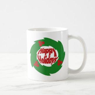 Happy Holidays Wreath Coffee Mug
