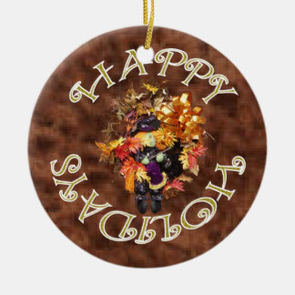 Happy Holidays Wreath Ornament. Round Ceramic Decoration