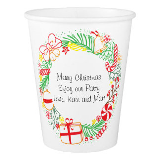 Happy Holidays Wreath Paper Cup