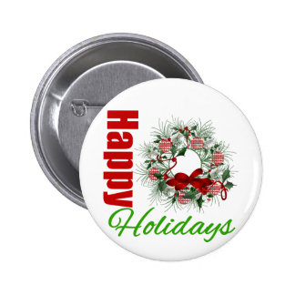 Happy Holidays Wreath v2 Pinback Button
