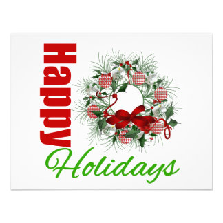 Happy Holidays Wreath v2 Personalized Invitation