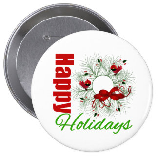 Happy Holidays Wreath with Birds Pinback Button