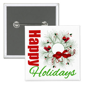 Happy Holidays Wreath with Birds Pinback Buttons