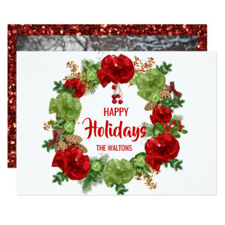 Happy Holidays Xmas Wreath Red Green | PHOTO Card