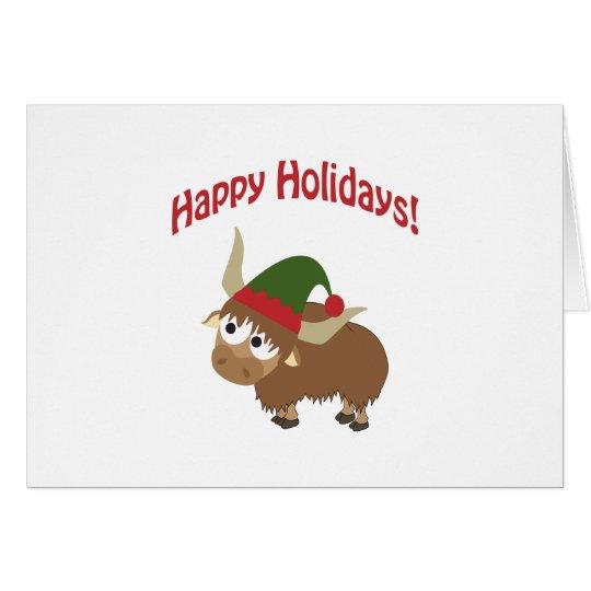 Happy Holidays! Yak Christmas Elf Card