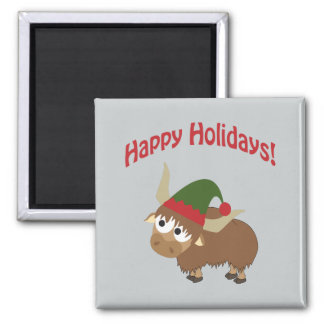 Happy Holidays! Yak Christmas Elf Refrigerator Magnet