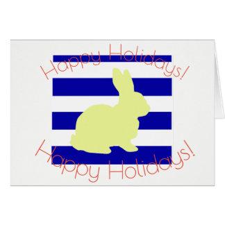 Happy Holidays Yellow Bunny Greeting Card