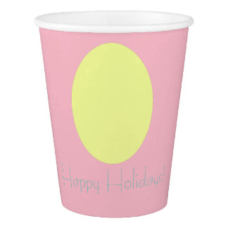 Happy Holidays Yellow Egg Paper Cup