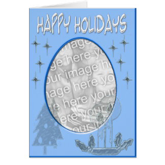 happy holidaysblue template greeting card