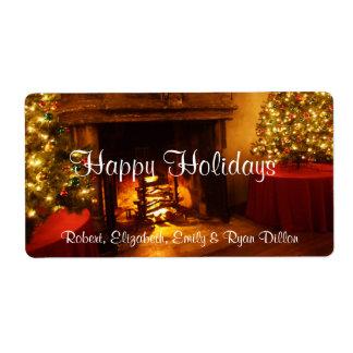Happy HolidaysFireplace Christmas Tree Wine Label Shipping Label