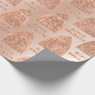 Happy HolidaysScript Pinguin Rose Gold Fancy Beret Wrapping Paper
