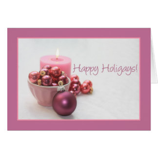 happy holigays gay pink ornaments christmas card