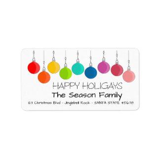 Happy Holigays Rainbow Christmas baubles Label