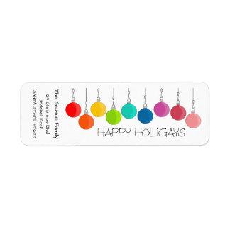 Happy Holigays Rainbow Christmas baubles Return Address Label