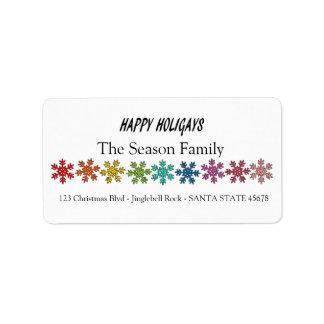 Happy Holigays Rainbow snowflakes Label