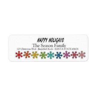 Happy Holigays Rainbow snowflakes Return Address Label