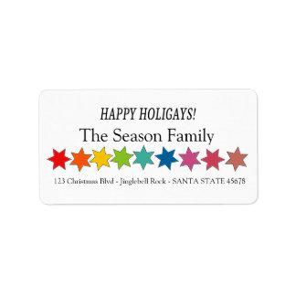 Happy Holigays Rainbow stars holiday label