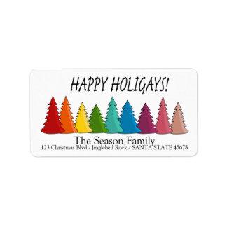 Happy Holigays Rainbow trees holiday label