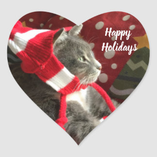 Happy Hollidays Heart Sticker