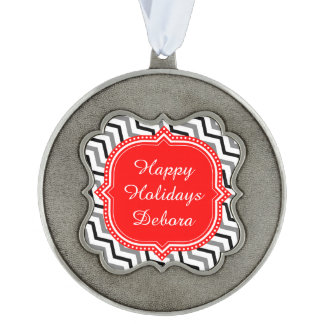 Happy Hollidays Scalloped Pewter Ornament