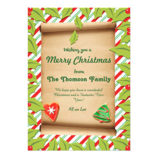 Happy Holly and Candy Cane Custom Christmas Card