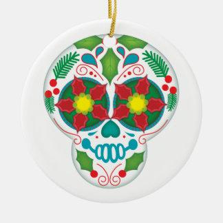 Happy Holly Days, Christmas Sugar Skull Ornament