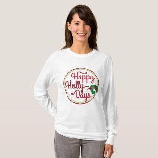 Happy Holly Days Christmas word art t-shirt