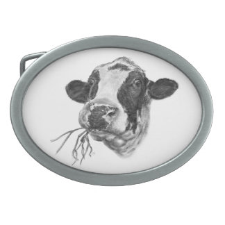 Happy Holstein Friesian Dairy Cow Oval Belt Buckle