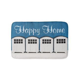 Happy Home Summer Beach cabins in blue and white Bath Mat