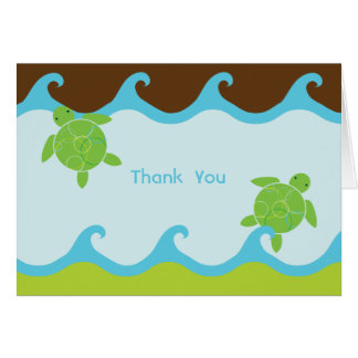 Happy Honu Swirly Waves Thank You Card - 4 x 5.6
