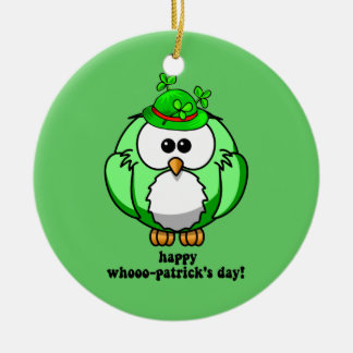happy hoo patricks day round ceramic decoration