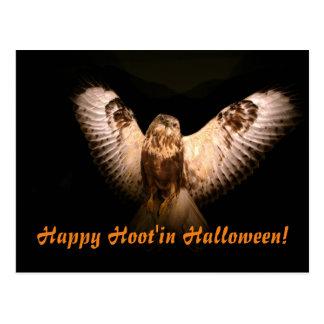 Happy Hoot'in Halloween Postcard
