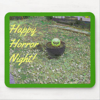 Happy Horror Night Green Halloween Pumpkin Mouse Pad