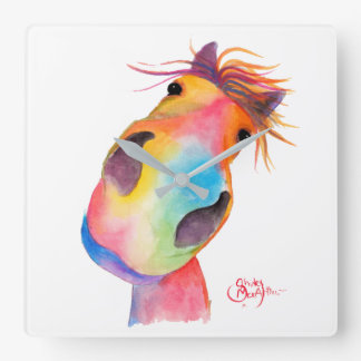 Happy Horse ' GoRGeOUS GWiNNY ' by Shirley Mac Square Wall Clock