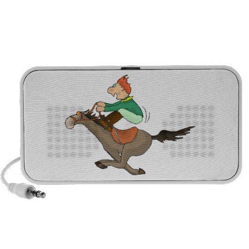 Happy Horseback Riding Jockey Cartoon Doodle Travelling Speakers