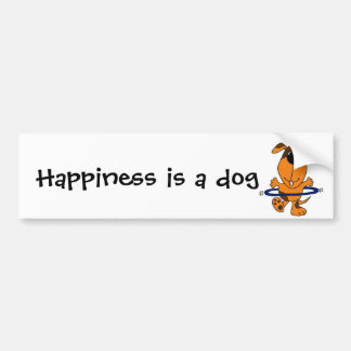 Happy Hound Dog Playing Hula Hoop Bumper Sticker